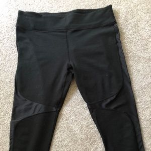 Fabletics 3/4 Leggings with Shiny Fabric Legs